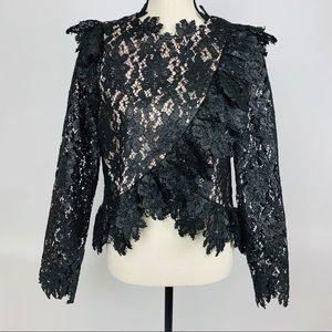 Saylor Jasmyn Top Painted Lace Black Medium